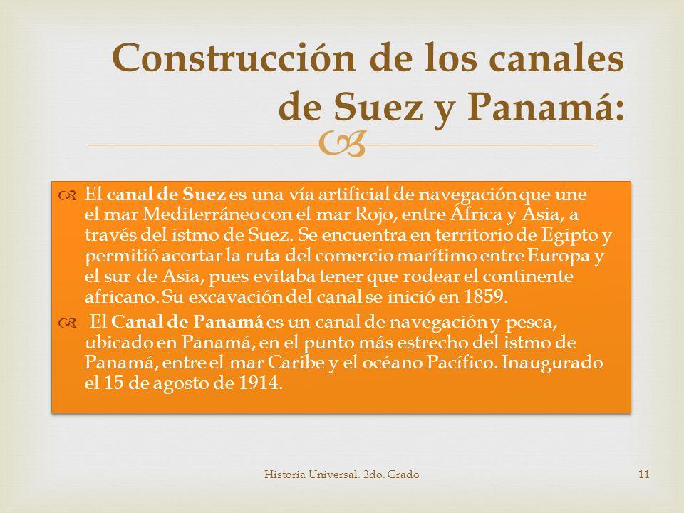 Construcción de los canales de Suez y Panamá: