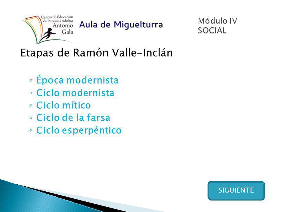 Etapas de Ramón Valle-Inclán