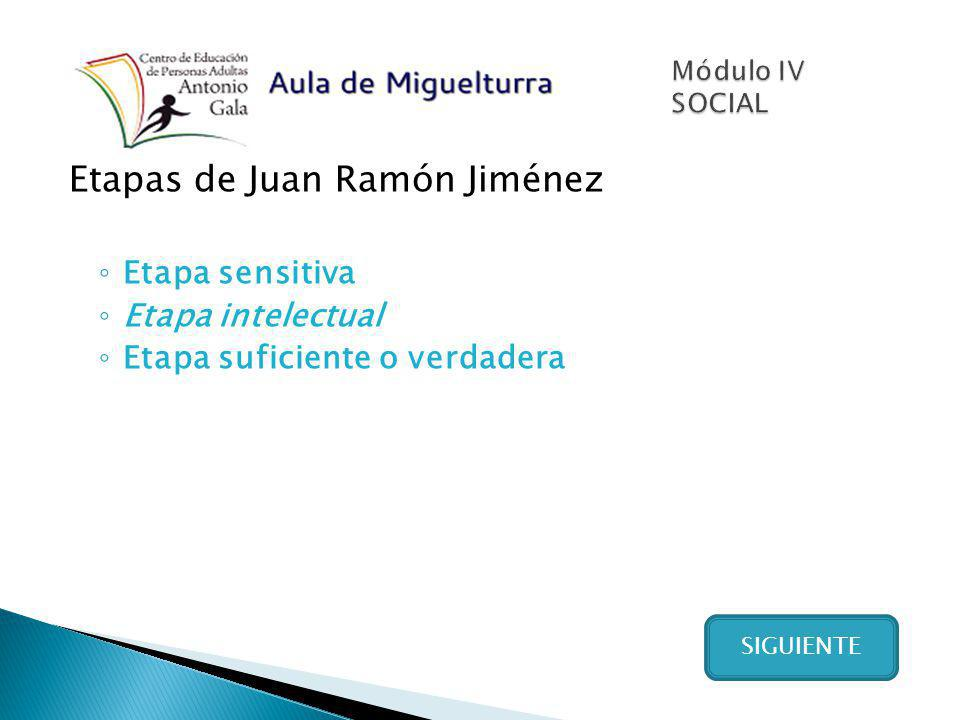 Etapas de Juan Ramón Jiménez