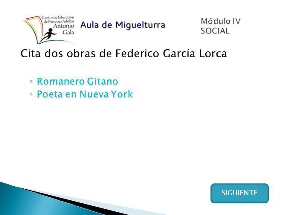 Cita dos obras de Federico García Lorca