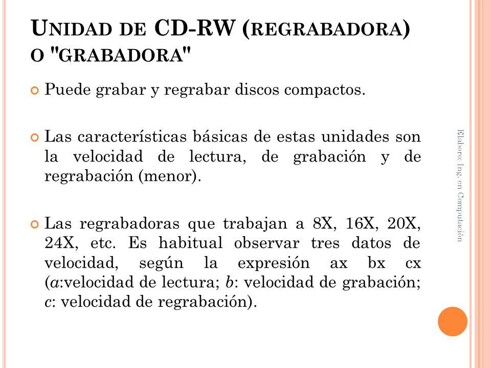 Unidad de CD-RW (regrabadora) o grabadora