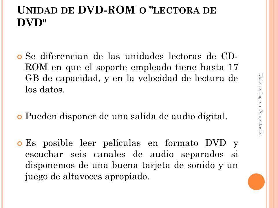 Unidad de DVD-ROM o lectora de DVD