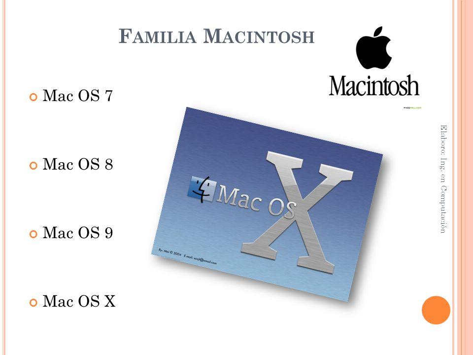 Familia Macintosh Mac OS 7 Mac OS 8 Mac OS 9 Mac OS X