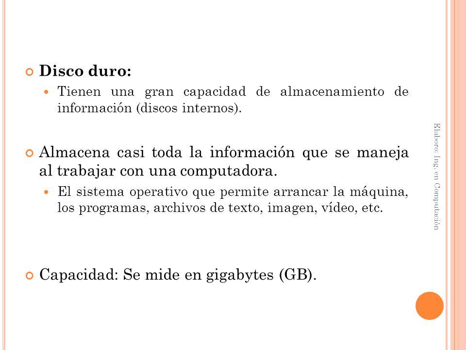 Capacidad: Se mide en gigabytes (GB).