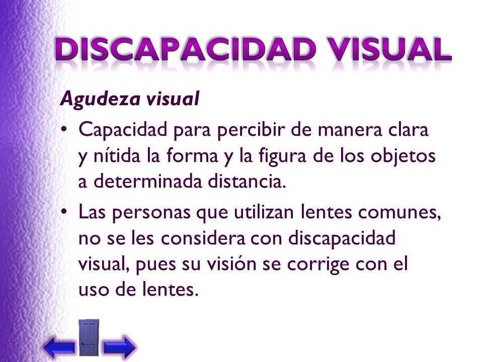 DISCAPACIDAD VISUAL Agudeza visual