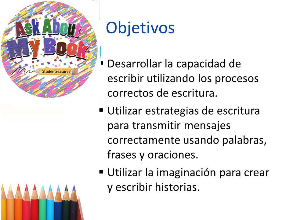 Objetivos Desarrollar la capacidad de escribir utilizando los procesos correctos de escritura.