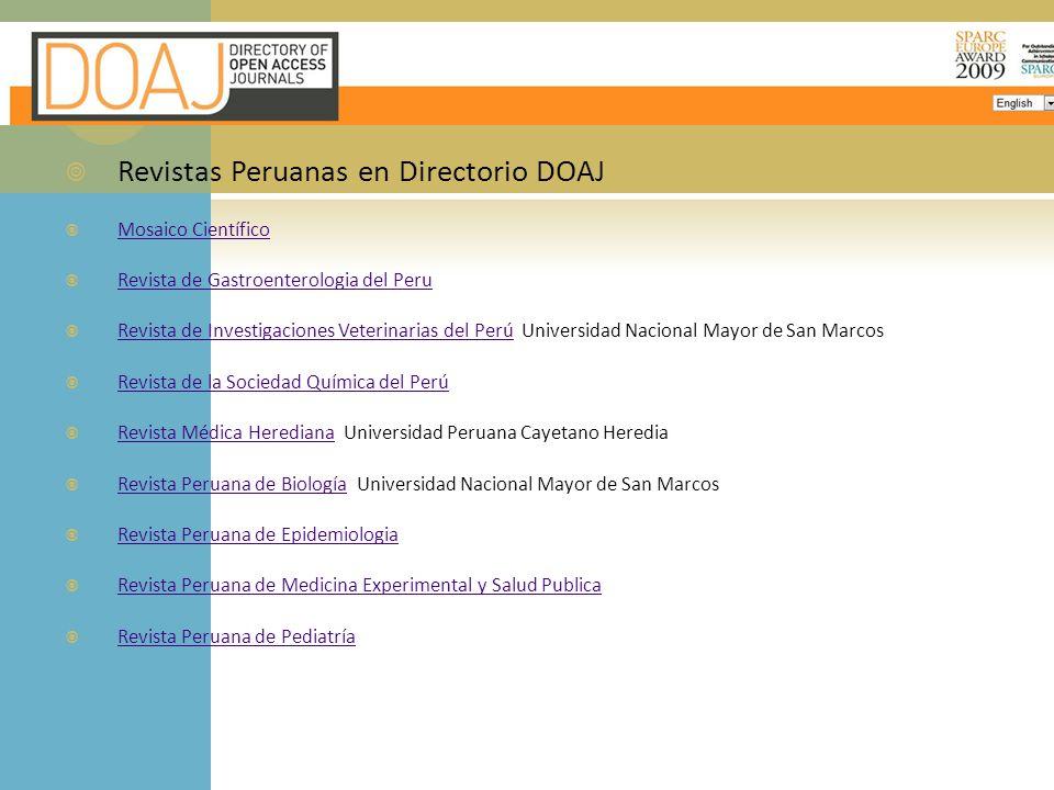 Revistas Peruanas en Directorio DOAJ