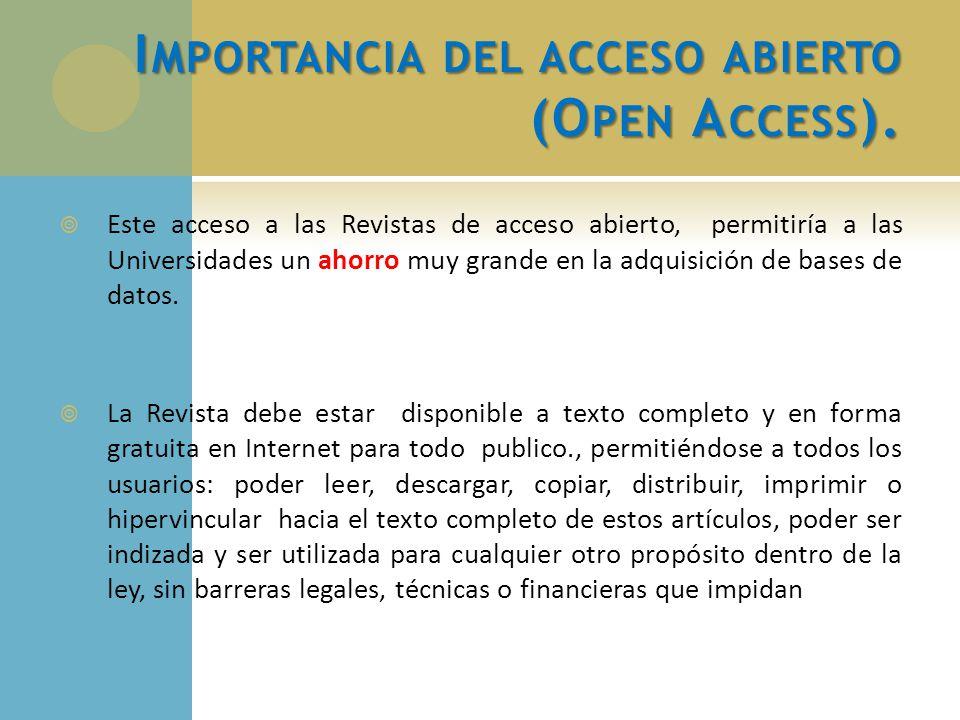 Importancia del acceso abierto (Open Access).