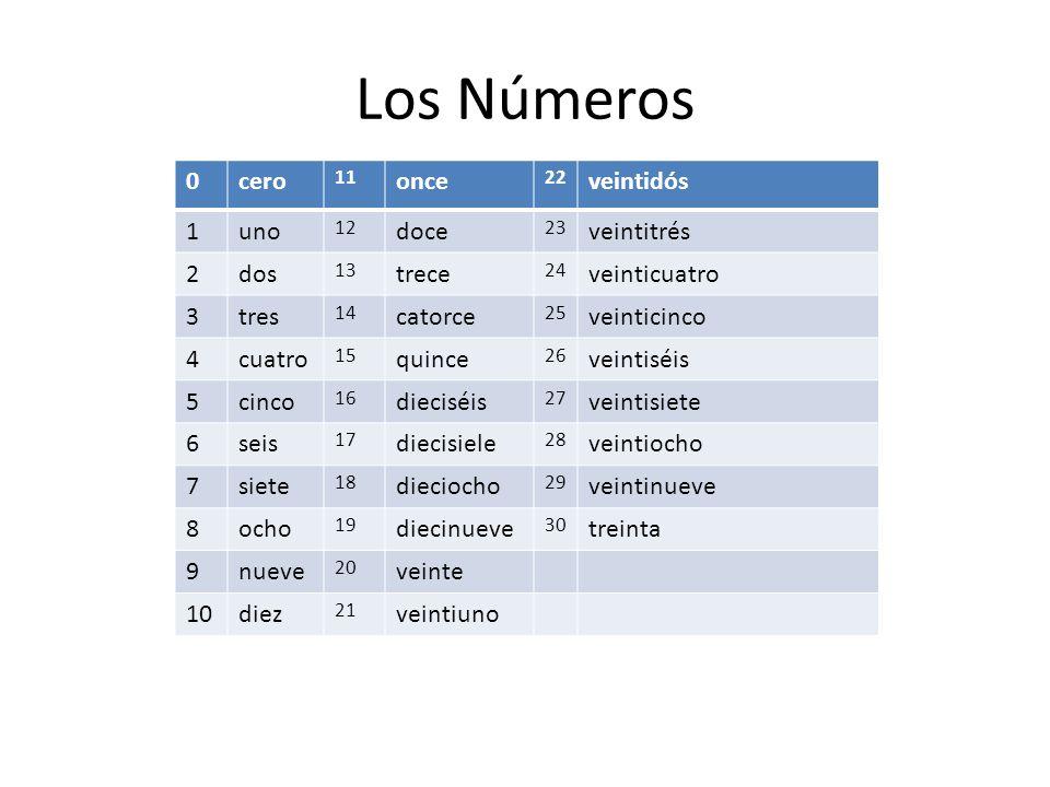Los Números cero once veintidós 1 uno doce veintitrés 2 dos trece