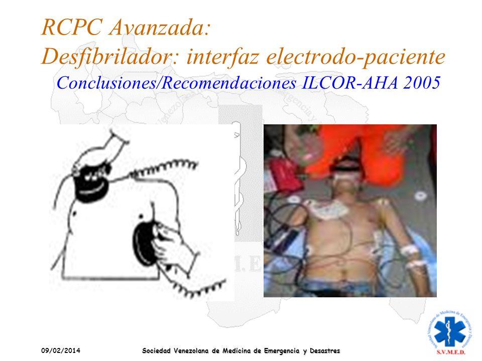 RCPC Avanzada: Desfibrilador: interfaz electrodo-paciente