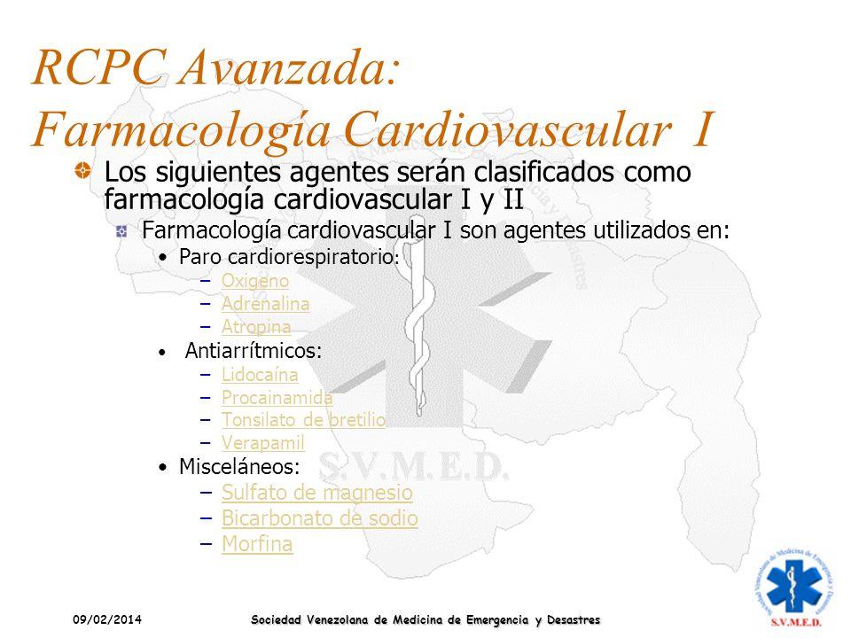 RCPC Avanzada: Farmacología Cardiovascular I