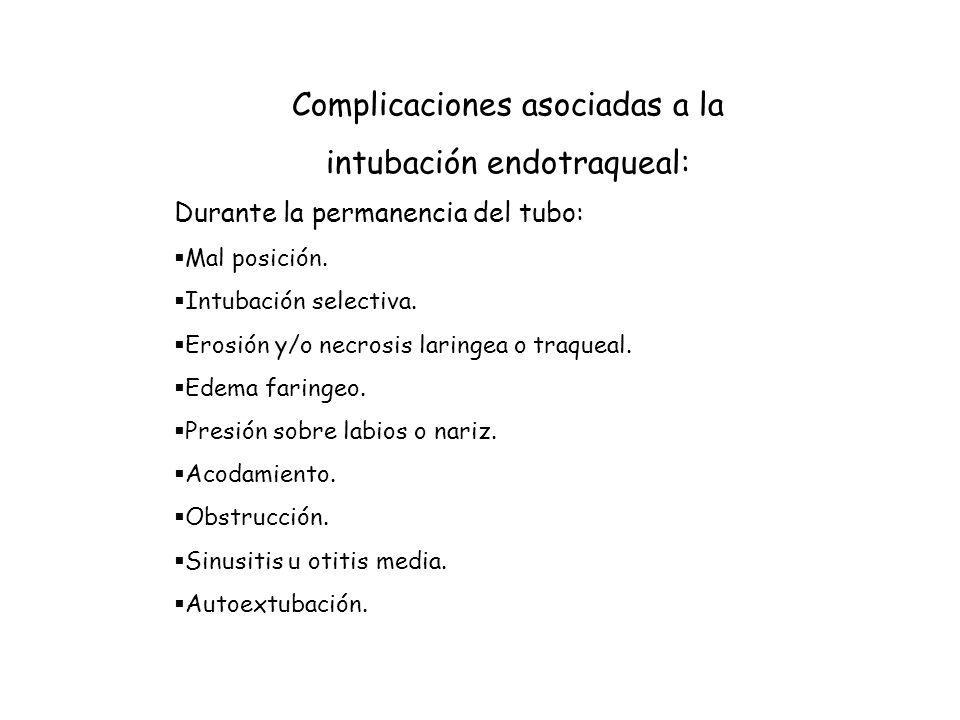 Complicaciones asociadas a la intubación endotraqueal:
