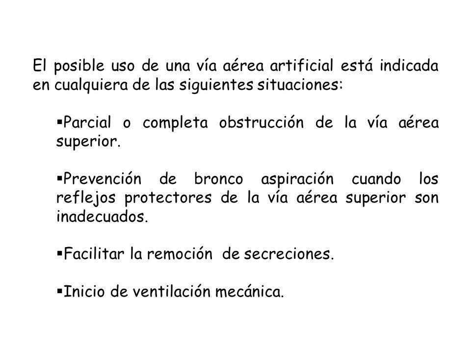 El posible uso de una vía aérea artificial está indicada en cualquiera de las siguientes situaciones: