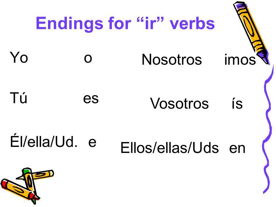 Endings for ir verbs Yo o Tú es Él/ella/Ud. e Nosotros imos