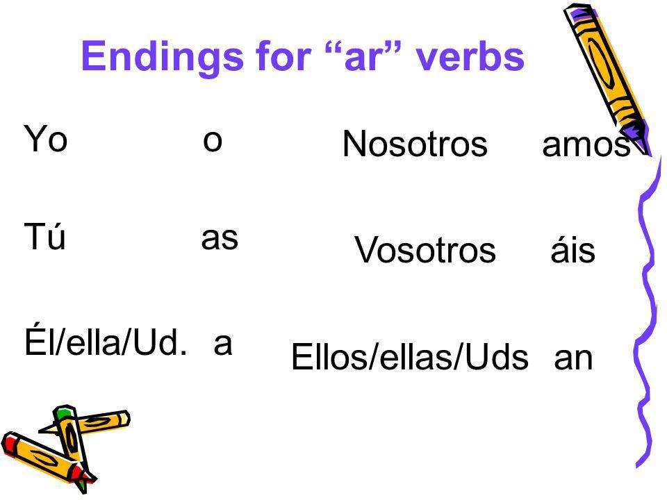 Endings for ar verbs Yo o Tú as Él/ella/Ud. a Nosotros amos