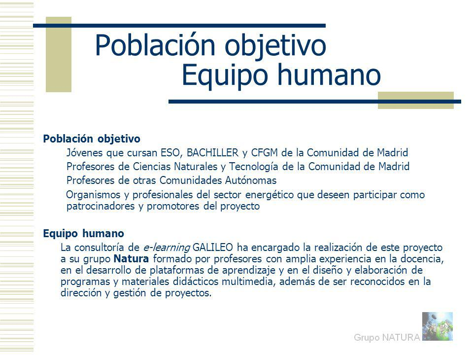 Población objetivo Equipo humano