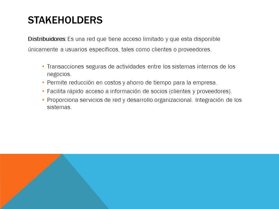 Stakeholders Distribuidores: Es una red que tiene acceso limitado y que esta disponible.