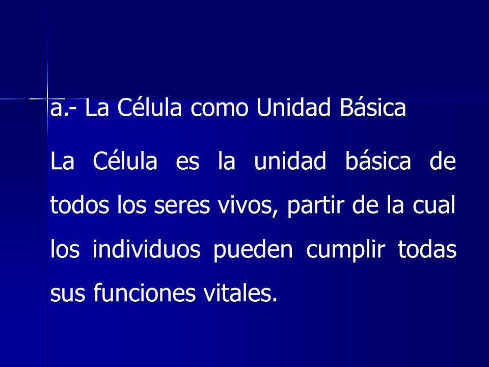 a.- La Célula como Unidad Básica