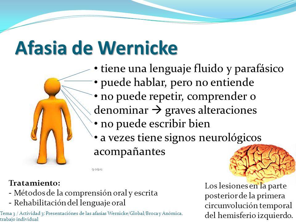 Afasia de Wernicke tiene una lenguaje fluido y parafásico