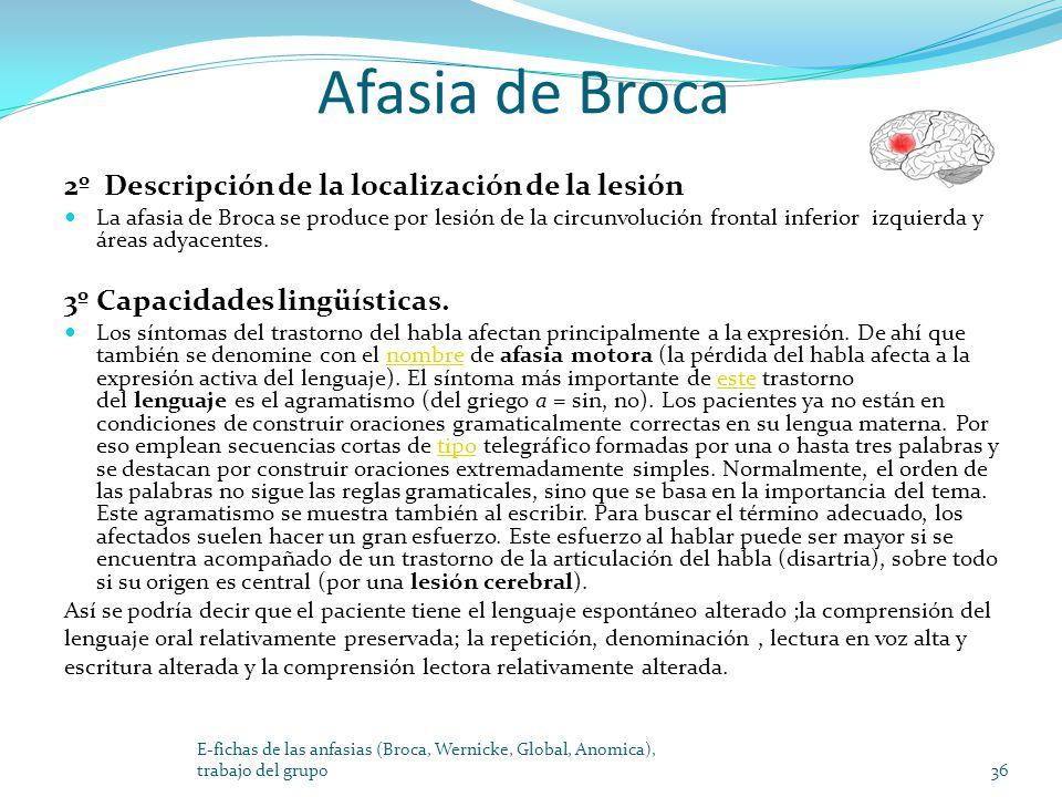Afasia de Broca 2º Descripción de la localización de la lesión