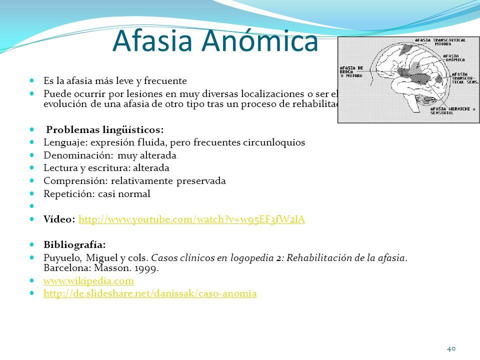 Afasia Anómica Es la afasia más leve y frecuente