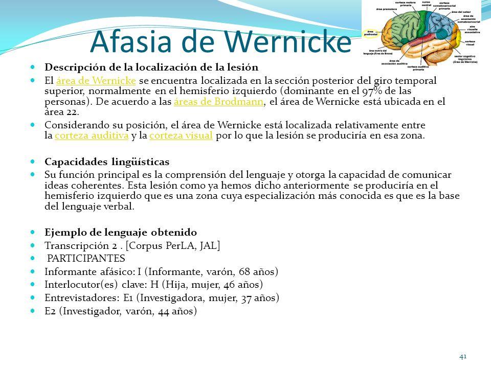 Afasia de Wernicke Descripción de la localización de la lesión