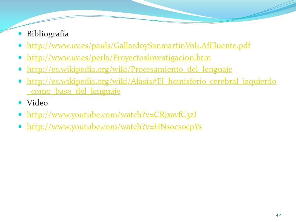 Bibliografía http://www.uv.es/pauls/GallardoySanmartinVol1.AfFluente.pdf. http://www.uv.es/perla/ProyectosInvestigacion.htm.