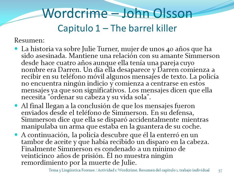Wordcrime – John Olsson Capitulo 1 – The barrel killer