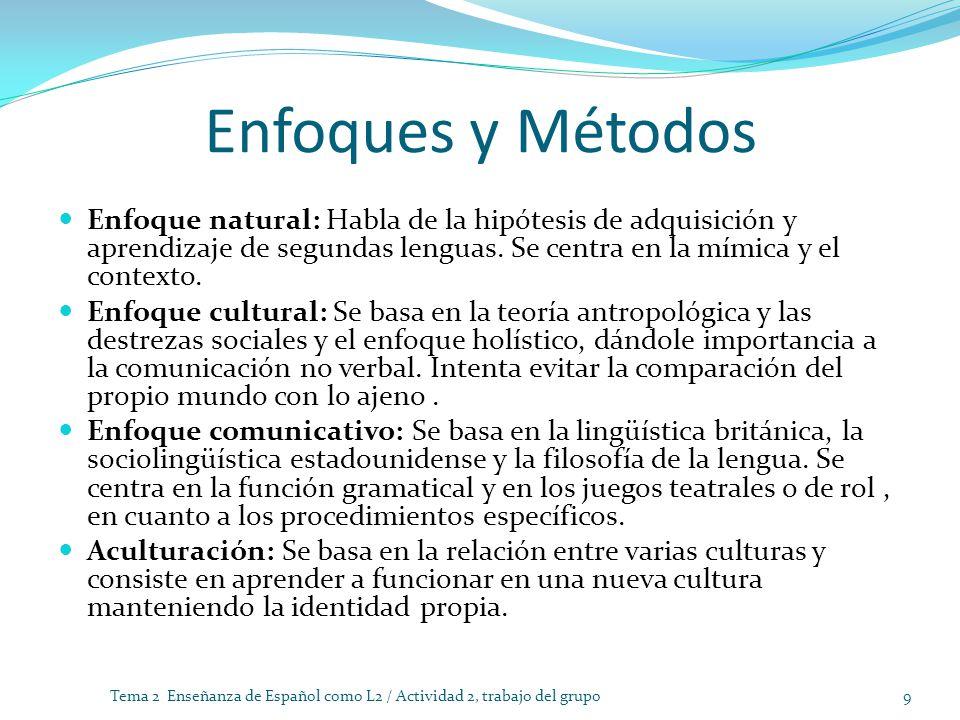 Enfoques y Métodos Enfoque natural: Habla de la hipótesis de adquisición y aprendizaje de segundas lenguas. Se centra en la mímica y el contexto.