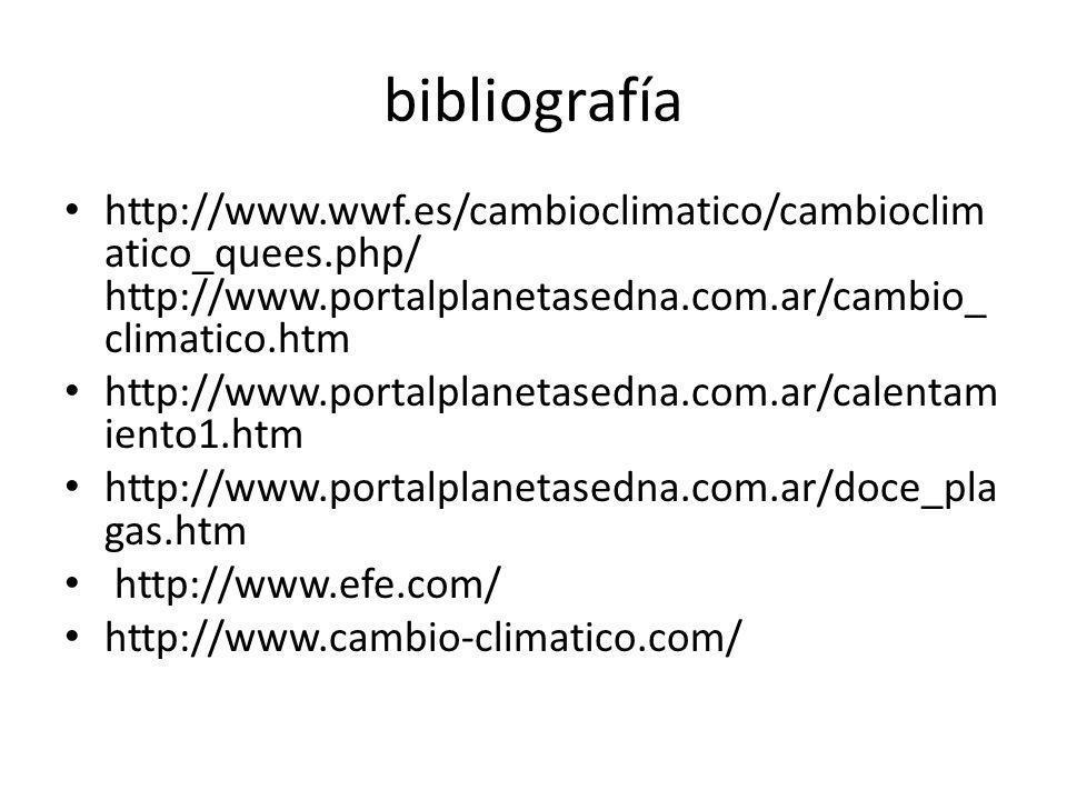 bibliografía http://www.wwf.es/cambioclimatico/cambioclimatico_quees.php/ http://www.portalplanetasedna.com.ar/cambio_climatico.htm.