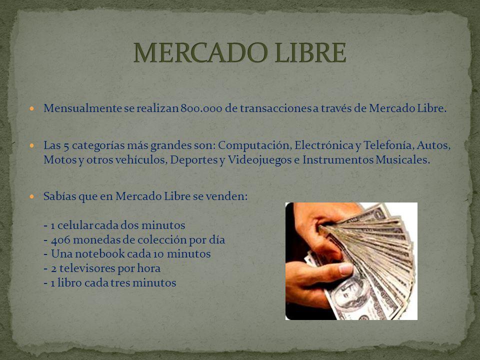 MERCADO LIBRE Mensualmente se realizan 800.000 de transacciones a través de Mercado Libre.