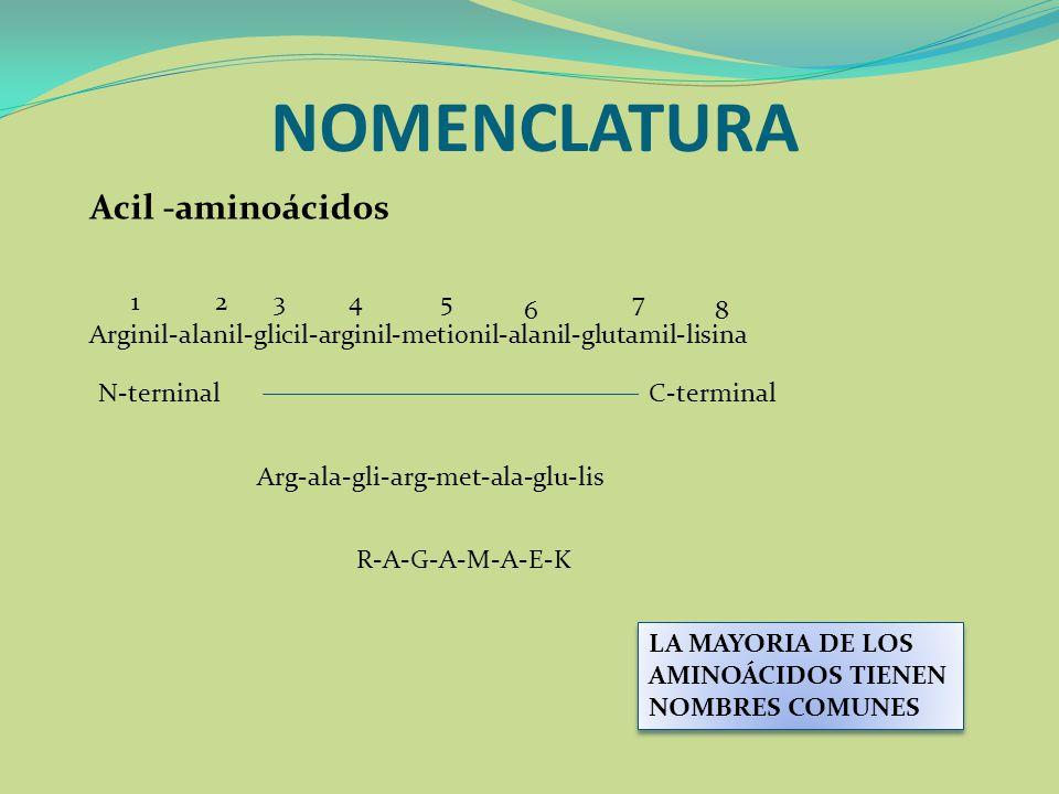 NOMENCLATURA Acil -aminoácidos 1 2 3 4 5 7 6 8