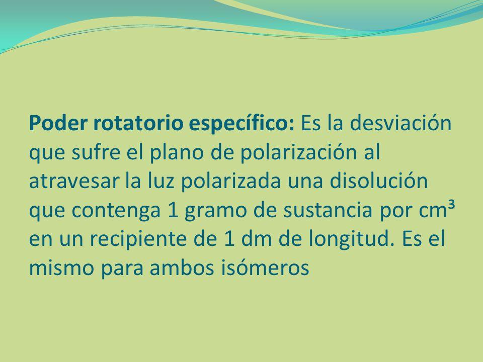 Poder rotatorio específico: Es la desviación que sufre el plano de polarización al atravesar la luz polarizada una disolución que contenga 1 gramo de sustancia por cm³ en un recipiente de 1 dm de longitud.