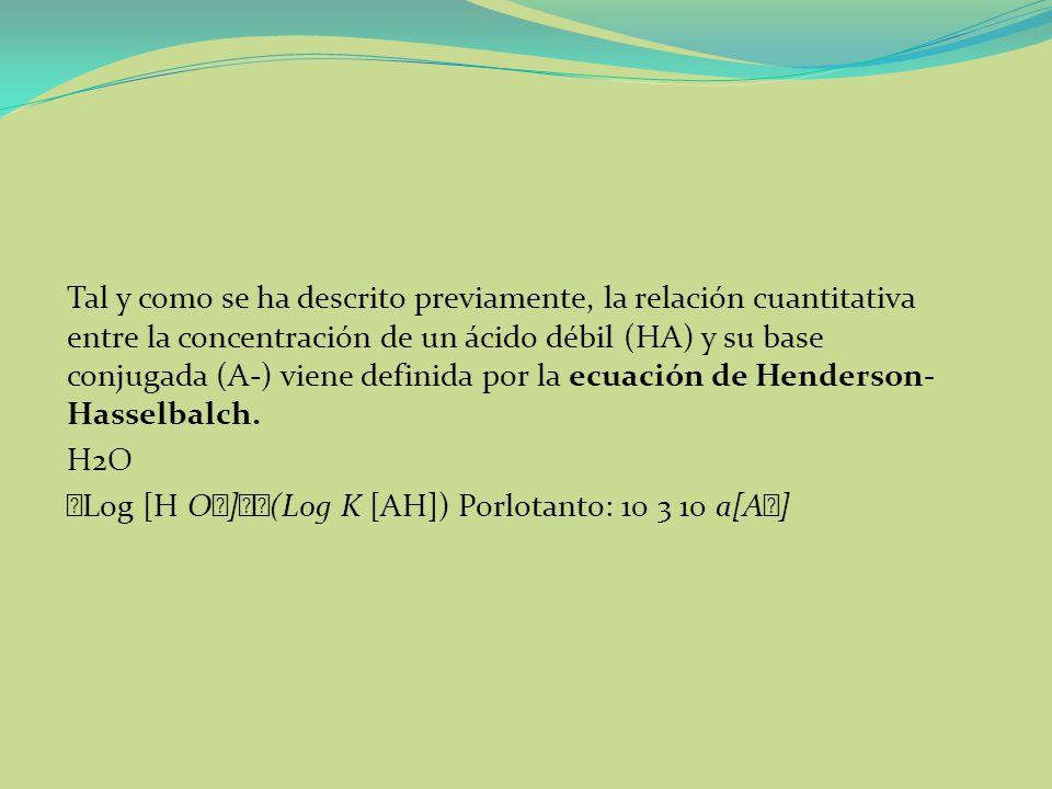 Tal y como se ha descrito previamente, la relación cuantitativa entre la concentración de un ácido débil (HA) y su base conjugada (A-) viene definida por la ecuación de Henderson-Hasselbalch.