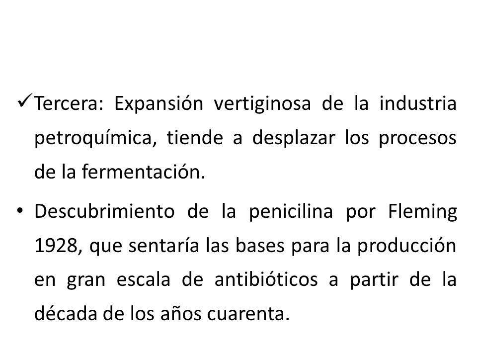 Tercera: Expansión vertiginosa de la industria petroquímica, tiende a desplazar los procesos de la fermentación.