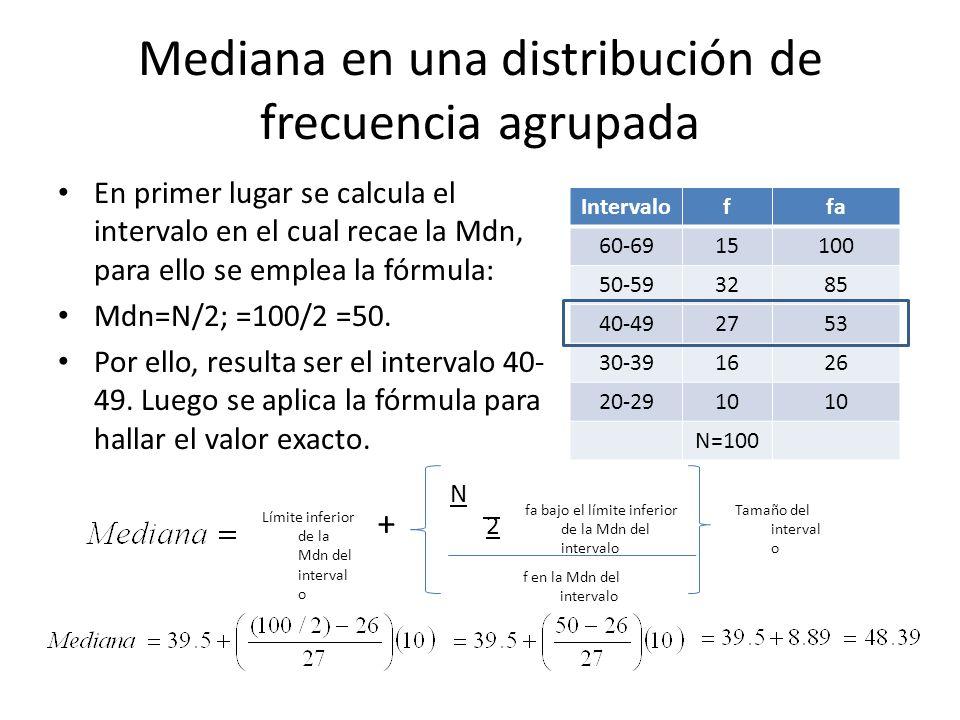 Mediana en una distribución de frecuencia agrupada
