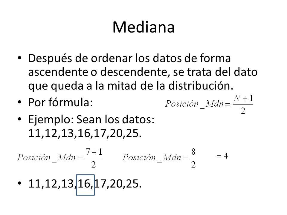 MedianaDespués de ordenar los datos de forma ascendente o descendente, se trata del dato que queda a la mitad de la distribución.