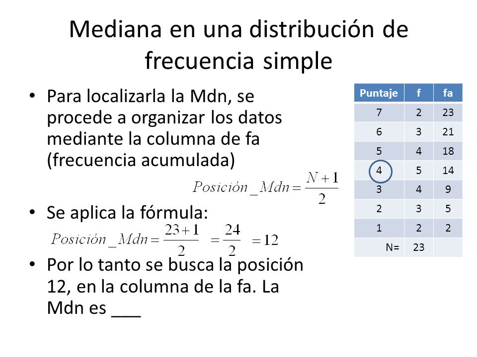 Mediana en una distribución de frecuencia simple