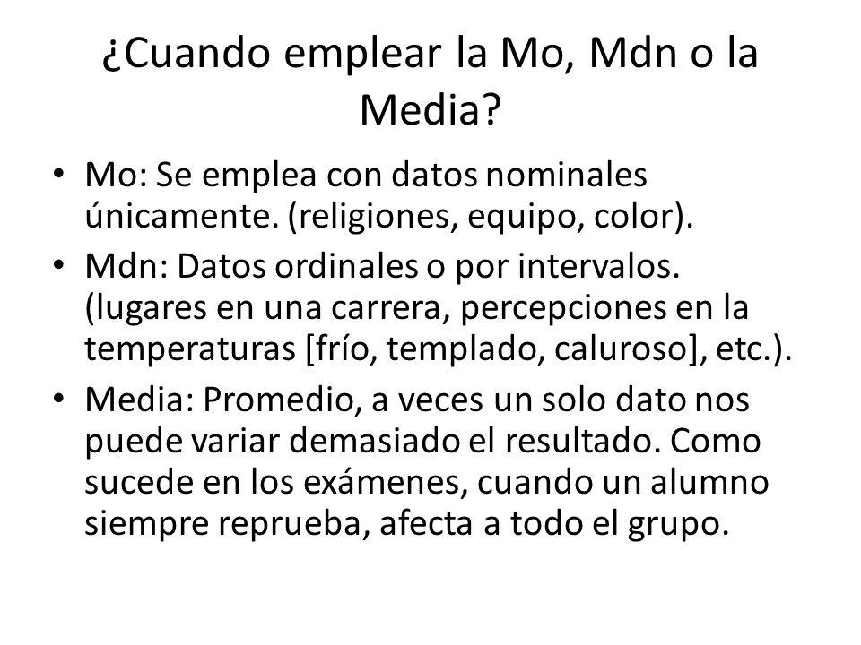 ¿Cuando emplear la Mo, Mdn o la Media