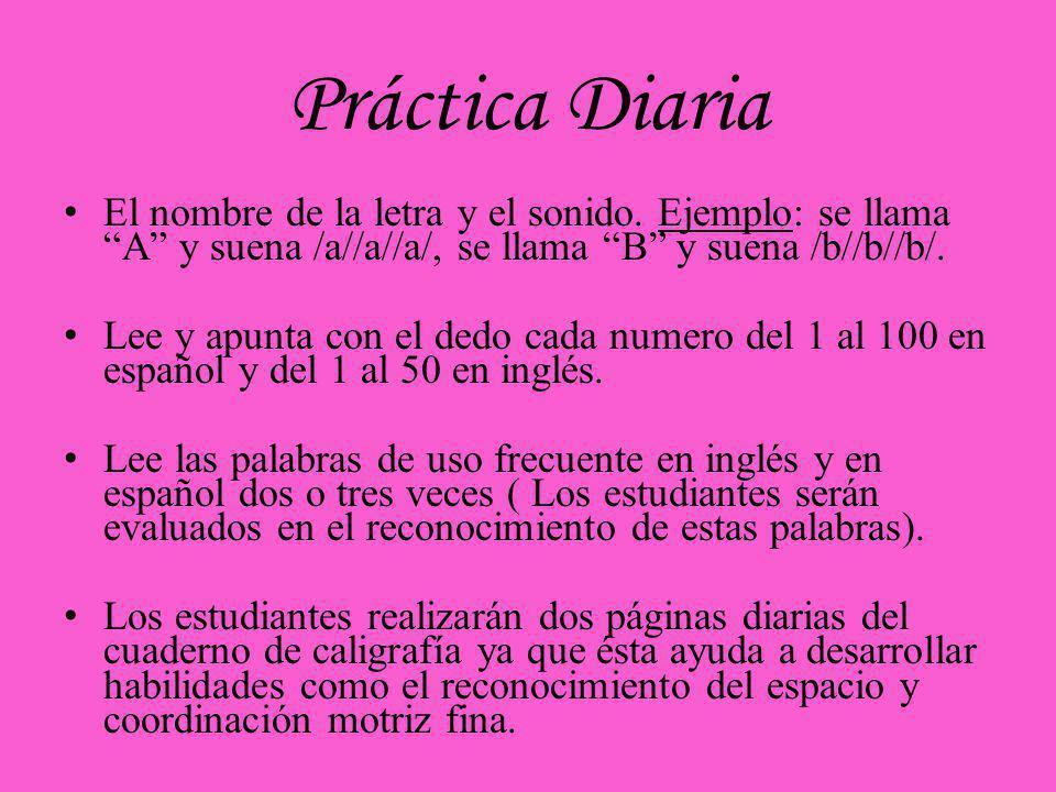 Práctica Diaria El nombre de la letra y el sonido. Ejemplo: se llama A y suena /a//a//a/, se llama B y suena /b//b//b/.
