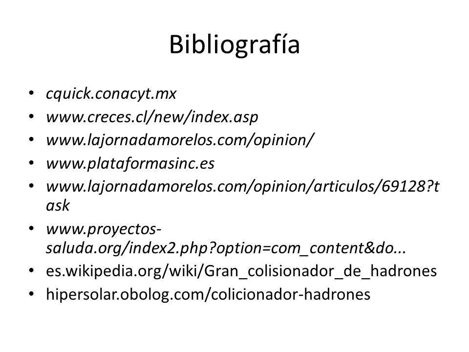 Bibliografía cquick.conacyt.mx www.creces.cl/new/index.asp