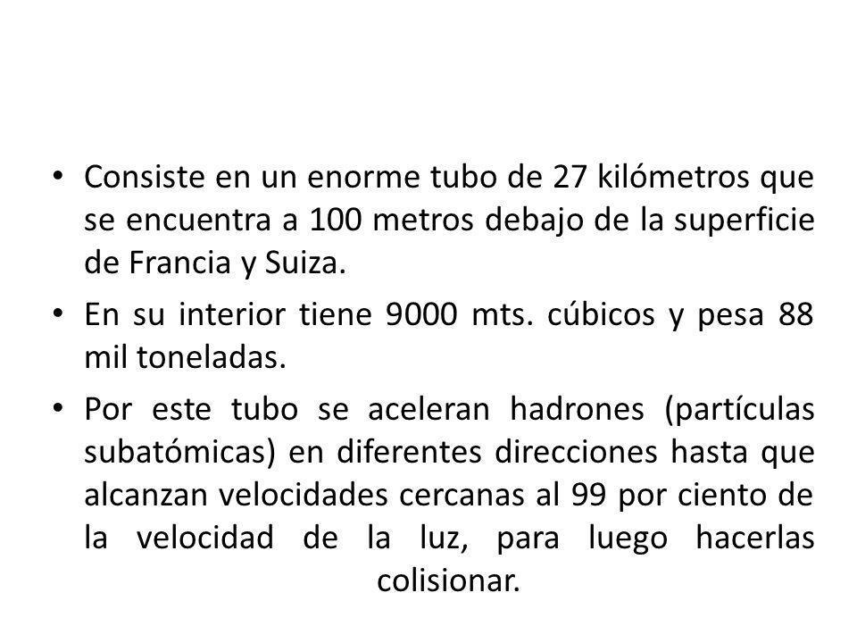 Consiste en un enorme tubo de 27 kilómetros que se encuentra a 100 metros debajo de la superficie de Francia y Suiza.
