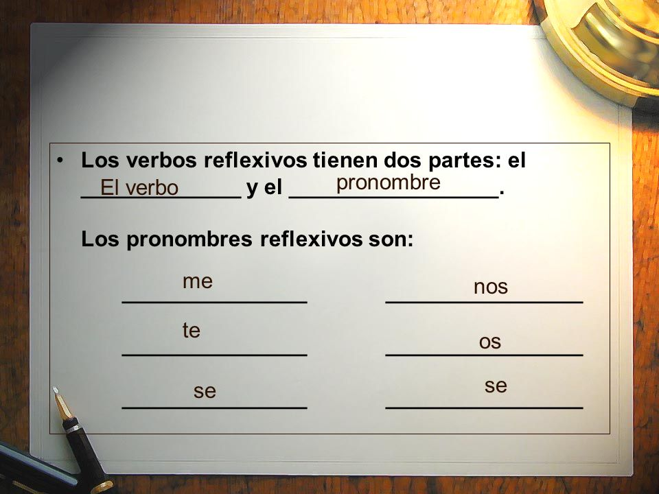 Los verbos reflexivos tienen dos partes: el _____________ y el _________________. Los pronombres reflexivos son: _______________ ________________ _______________ ________________ _______________ ________________