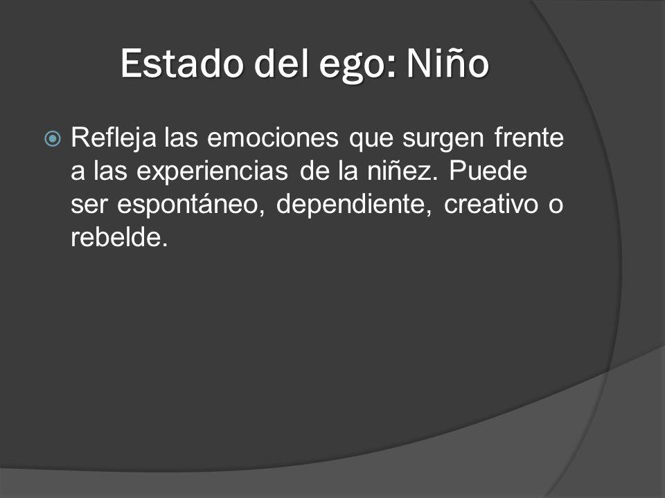 Estado del ego: Niño Refleja las emociones que surgen frente a las experiencias de la niñez.
