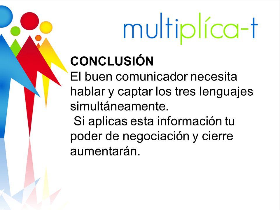 CONCLUSIÓN El buen comunicador necesita hablar y captar los tres lenguajes simultáneamente.