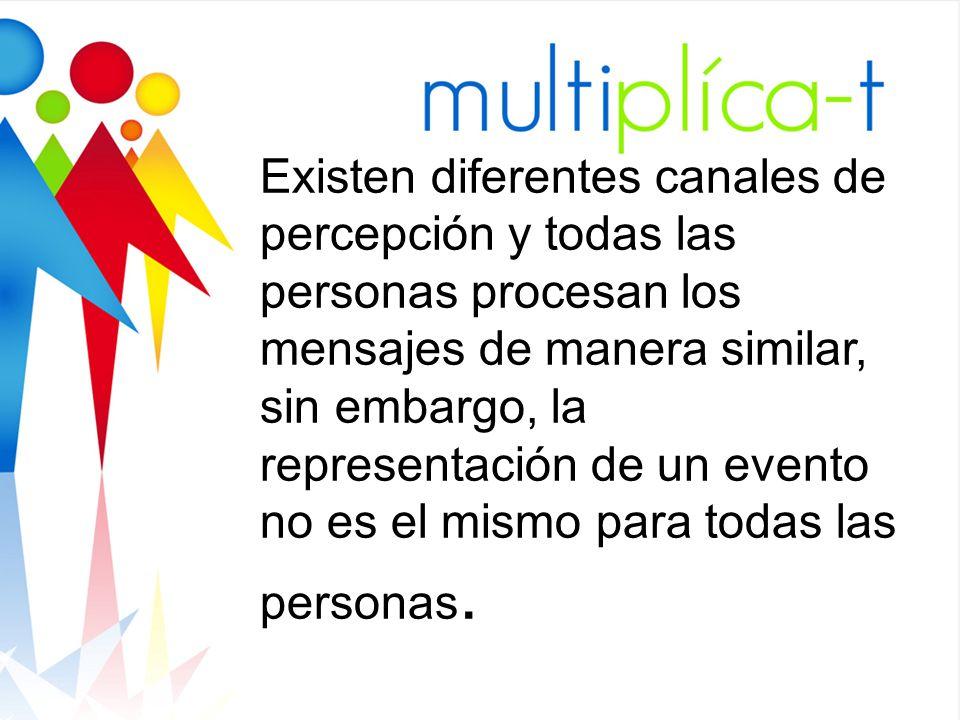 Existen diferentes canales de percepción y todas las personas procesan los mensajes de manera similar, sin embargo, la representación de un evento no es el mismo para todas las personas.