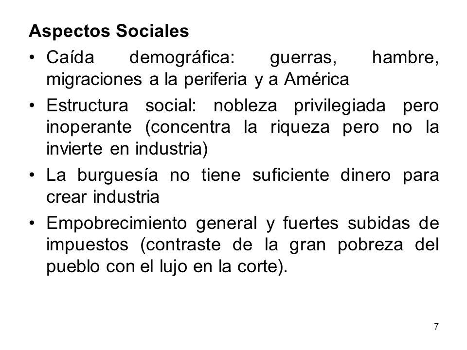 Aspectos Sociales • Caída demográfica: guerras, hambre, migraciones a la periferia y a América.