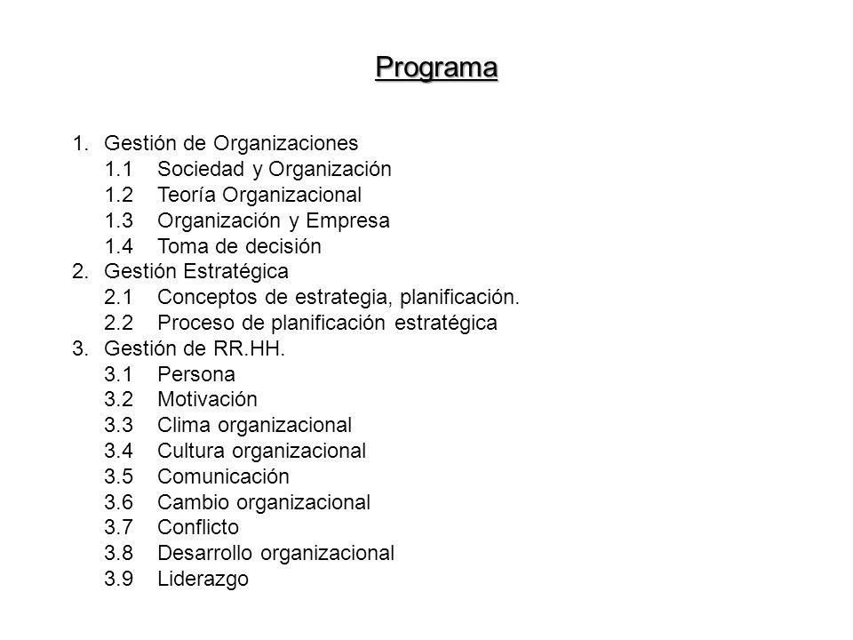 Programa Gestión de Organizaciones 1.1 Sociedad y Organización