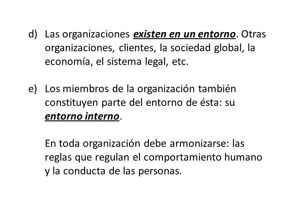 Las organizaciones existen en un entorno