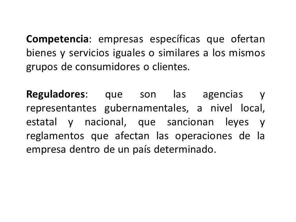 Competencia: empresas específicas que ofertan bienes y servicios iguales o similares a los mismos grupos de consumidores o clientes.